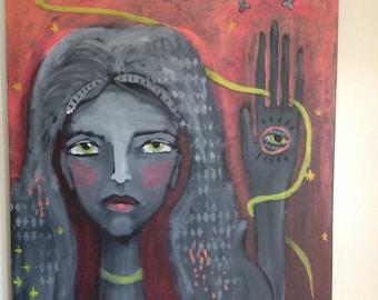 FORTUNE TELLER original acrylic on canvas 20x24