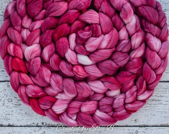 Organic Polwarth/ Silk 'Rose' 4 oz semi-solid pink spinning fiber, hand dyed wool, CreatedbyElsieB wool silk roving by the pound, combed top
