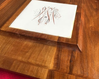 Vintage Cheese board by Sydney Farbes and Son, Genuine Walnut, ceramic tile, mid century modern