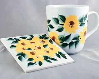 Hand Painted Coffee Mug and Coaster, Yellow Floral