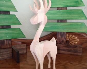 Holiday Wood Reindeer