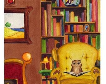 Fine Art Print - Herbert the Owl Loves a Good Book