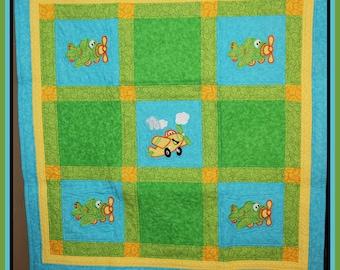 Airplane Quilt Appliqued, Lap Quilt, Baby Quilt, Stroller Quilt, Wheelchair Quilt, Floor Quilt