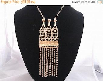 ON SALE Vintage Statement  Bib Fringe Runway Necklace, 1960's 1970's Collectible Tassel Jewelry