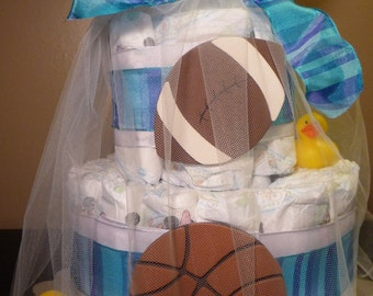 Sports themed diaper cake, two-tier, baby shower gift