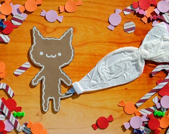 Gingerbread Cookie Cat with Candy Collage Print Using Cut Out Paper, Nursery Decoration, Children's Wall Art, Christmas Decor, Cute Kawaii