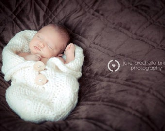 Newborn knit cable stitch swaddle snuggle sac in Roving with wooden buttons several colour options