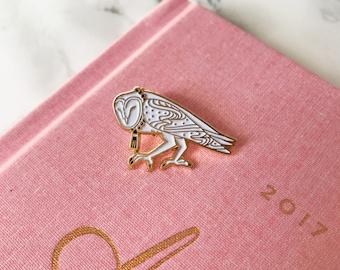 Barn Owl Pin, Soft Enamel Lapel Bird Pin, Collectible Art Jewelry