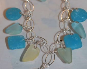 Turquoise and Yellow Glass and Sterling Necklace