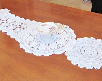 SALE Boho Doily Table Runner Doilies Vintage Crochet Shabby Chic Homewares Rustic Wedding Domum Vindemia Bridal Tablecloth Mat Handmade