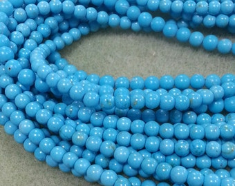 4 mm Turqoise Colored Magnesite Beads