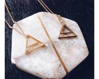 Minimalist Geometric Gold/Brass Triangles Necklace