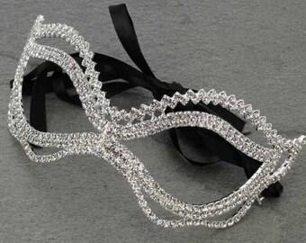 Rhinestone Mask - Silver/Clear Stone