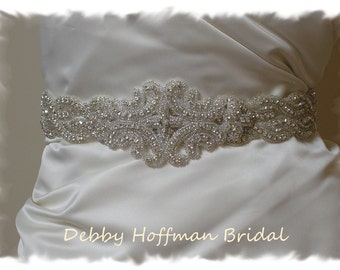 Bridal Dress Sash, Rhinestone Crystal Bridal Belt, Jeweled Wedding Dress Sash, Rhinestone Wedding Belt, Wide Wedding Sash, No. 1126S2-1101