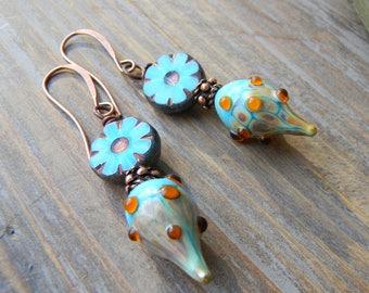 Flower Earrings / Rustic Earrings  / Lampwork Earrings / Turquoise Earrings / Beaded Earrings / Glass Earrings / Boho Jewelry / Bohemian