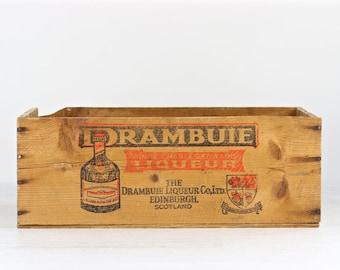 Vintage Drambuie Liquor Crate Vintage Wooden Crate XXL Wood Crate Drambuie Crate Wooden Box Liquor Wood Crate Alcohol Wood Crate Industrial