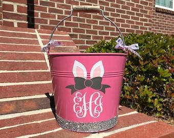 Personalized Easter Bucket, Metal Easter Bucket, Monogrammed Pink Glitter Easter Bucket, Bunny Ear Monogram, Bow Monogram Easter Basket