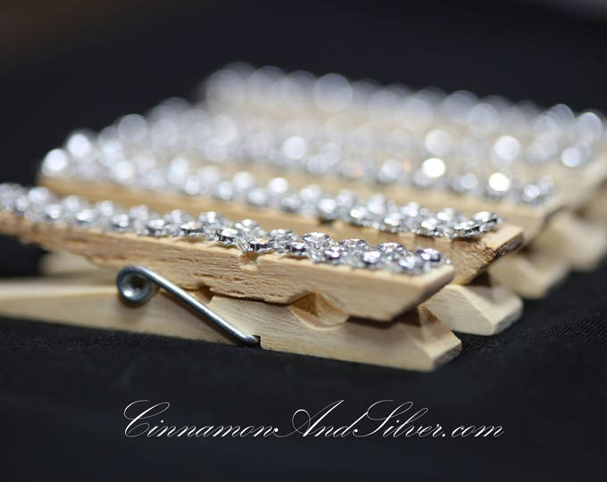 Silver Sparkle Rhinestone Clothespins, Rhinestone Clothespeg, Sparkle Rhinestone Photo Clip, Silver Ribbon Photo Holder