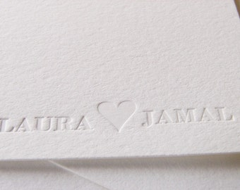 Personalized Letterpress Stationery Names with Heart (Set 20)