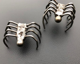 Handmade spider, spark plug spiders, metal art, critters, creepy crawly