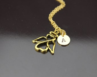 Gold Angel Charm Necklace Angel Pendant Angel Necklace Personalized Necklace Initial Charm Initial Necklace Monogram  Customized Jewelry
