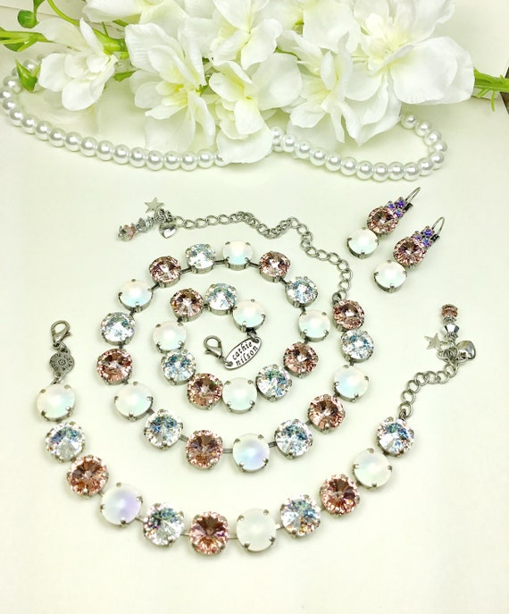 """Swarovski Crystal 12MM """"Millennium Pink"""" Bridal Set - Gorgeous Vintage Rose, White Matte AB, White Patina - Designer Inspired -FREE SHIPPING"""