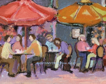 "Cafe original oil 5x7"" small figure painting, cafe, bistro, figures, city, table umbrellas, lavender, outdoor restaurant, city scene,"