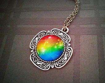 Color Life, color life glass cabochon pendant necklace