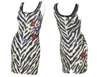 1980s Vintage Beaded Sequin Zebra Print Floral Mini Dress XS