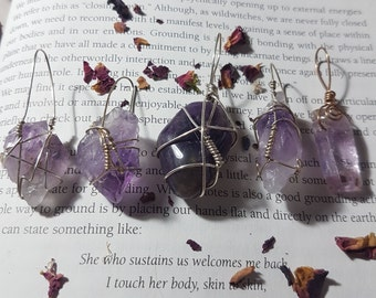 Wire wrapped silver plated Amethyst pendant. Wire wraps. Amethyst pendant. Amethyst necklace. Crystal pendant. Wire wrapped crystal pendant.