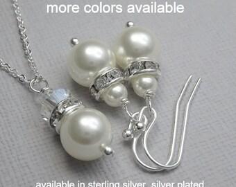 Set of 9 Bridesmaid Jewelry Set,  Swarovski White Pearl Jewelry Set, Bridesmaid Jewelry Set, Bridal Party Gift, Set of 9 Wedding Jewelry Set