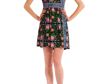 1970s Vintage Sweet and Petite Floral Pink and Green Dress  Size: S/M