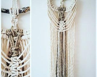 Macrame wall hanging made with cotton and linen cords,drift wood, boho,natural,home decor,handmade,unique,fibre art, textile design,bohemian
