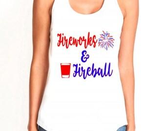 4th of July Fireworks & Fireball ladies Racerback tank, ladies 4th of July tank patriotic tank top, Independence Day Ladies Tank T