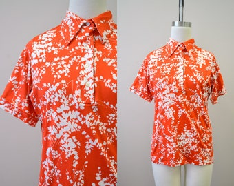 1970s Red and White Print Polyester Shirt