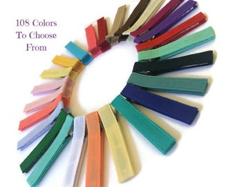 10 LARGE Solid Lined Alligator Hair Clips, 57mm Single Prong, No Slip Hair Clips, Large Hair Clips, Ribbon Lined Clips, Hair Accessories