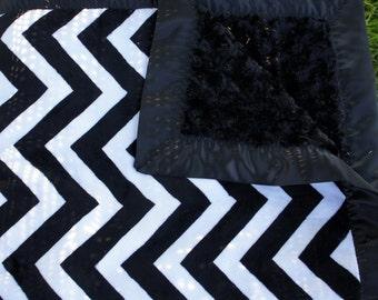 Black Chevron Minky Baby Blanket