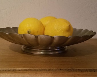 Vintage Boho Pewter Bowl  with Scalloped Edge Alvin Pewter Made in the U.S.A.