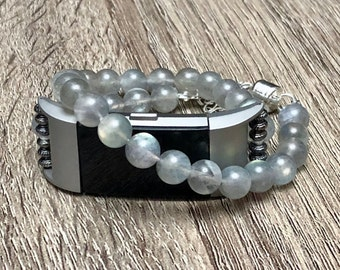 Moonstone Bracelet for Fitbit Charge 2 Tracker Silver Double Wrap Fitbit Charge 2 Band 925 Jewelry Sterling Silver Magnet Clasp Gift Present