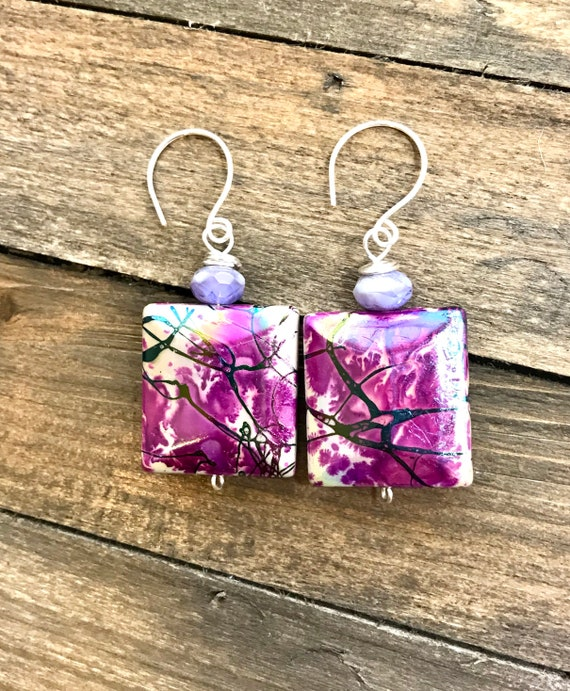 Multi color paint splatter dangle earrings- acrylic beads with amethyst on top