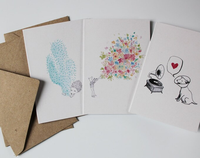 set of 3 illustrated mini-postcards & kraft enveloppes - watercolour and ink - cute greeting cards (dog / mouse / hedgehog / cactus)