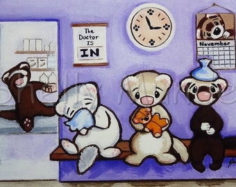 Waiting Room at the Vets Office - Ferret Art Print - by Shelly Mundel