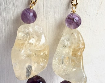 Citrine and amethyst earrings