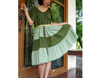 Clearance sale Boho Loose Green Cotton Patchwork Tunic Dress  S-L (T 15)