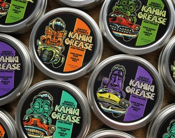 Kahiki Grease hair pomade, barbershop barber tiki rocker pinup rockabilly rock'n'roll vintage retro hotrod kustom kulture car tiki bar