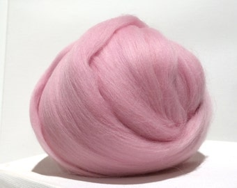 Pink Merino Wool Roving, Needle Felting, Spinning Fiber, pink wool roving, cotton candy, baby pink roving, bubble gum pink, Saori weaving