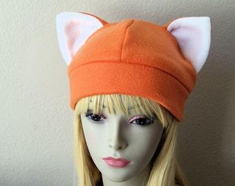 Fleece Cat Hat / ORANGE Beanie Style Cute Anime Kyo Neko Fox Cosplay Cat Ears Kitty Kawaii Halloween Japanese Fashion