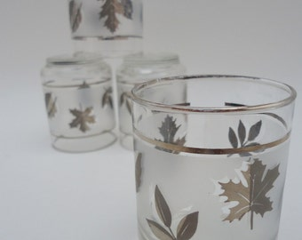 4 Libbey Silver Leaf Flat Juice Tumblers, 3 Inch, 4 oz