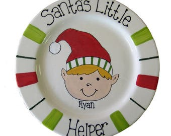 Hand painted, personalized Christmas pottery, Santa's Little Helper