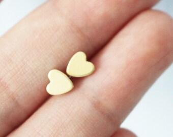 Tiny gold heart earrings - heart stud earrings - sterling 925 silver post - minimal earrings